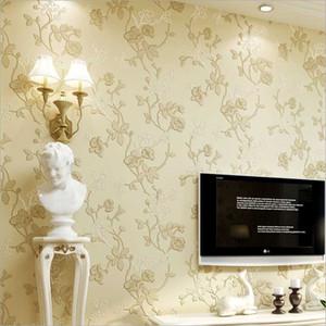 Fondo de pantalla de papel dormitorio rollo no tejido Bump estereoscópica Flores rural la decoración del hogar pegatinas de pared de la sala blanca pared Shop