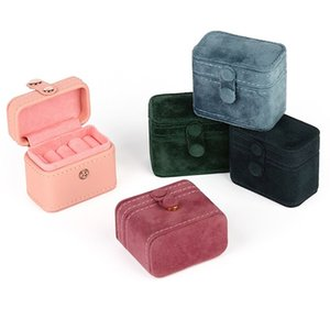 Hot sale mini button jewelry box fashion Pu flannelette ring box pair ring earrings pendant Bracelet storage 6.5x3.8x5cm