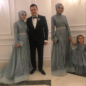 Cuentas de cristal Aso Ebi árabe musulmana gris vestidos de noche del cordón del bordado de manga larga de cuello alto Prom Vestidos sobrefaldas partido formal Vestidos