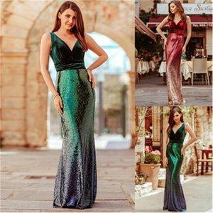 여성 파티 드레스 패션 트렌드 섹시한 깊은 V 넥 민소매 롱 스커트 디자이너 여성 그라데이션 벨트 패널로 캐주얼 드레스