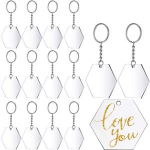 Disco acrílico transparente e chaveiro transparente acrílico chaveiro em branco para artigos e ofícios diy, (hexágono, 48 peças)