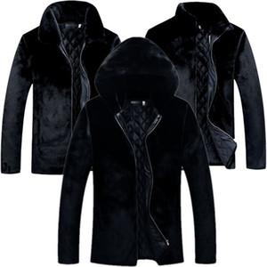 Capa de visión suelta más el negro de los hombres de manga larga con capucha de piel falsa casual abrigos Invierno hombre Ropa de abrigo