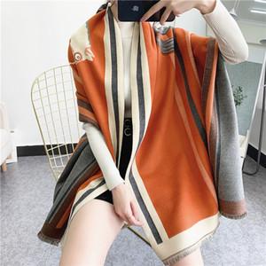 Invierno 2020 de lujo Nueva carro bufanda caliente del mantón Espesar borlas Caballo manera de la cachemira del poncho del cabo Mujeres Wraps