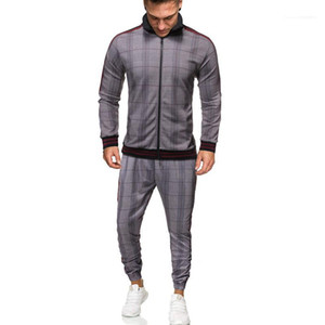 Men S Clothing Men Tracksuits Designer 3D Plaid Pattern Suits Casual Zip Neck Long Sleeve Top Long Pants