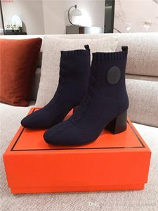 Slip-on high-heeled Sock Boots for women Knited Knight Boots with Knit Back Panel Ankle boots With box Size 35-40