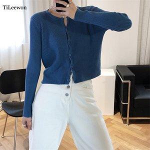 Tileewon recortada chaqueta de punto suéteres mujer ropa mujer mulher Blusas coreano otoño jersey de primavera Roupas manga larga Femininas