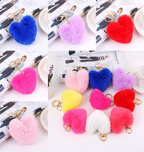 Heart Ball Pom Pom Keychain Fluffy Faux Rabbit Fur Pompom Key Chains Women Bag pendant Jewelry Key Chains DB025