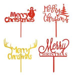 1PCS 아크릴 크리스마스 케이크 토퍼 골드 메리 크리스마스 케이크 토퍼 크리스마스 장식을 위해 파티 홈 인테리어 나탈 스 Navidad