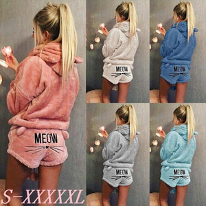 Letter Print Hoodies Fleece Fuzzy Hooded Sweatshirt with Ears Sleepwear Suit Women Warm Cat Print Jumpsuit Pajama Sets