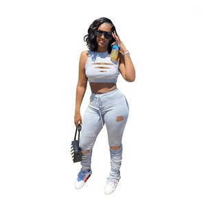Set Sexy Sleeveless Crop Top Casual Stacked Pants Women Designer Tracksuits Fashion Hole Panelled 2 Piece