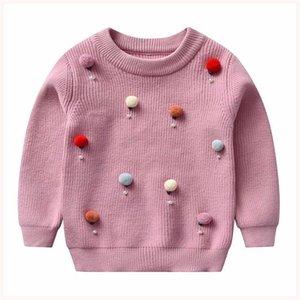 Langer Ärmel Baby-Rundhalsausschnitt gestrickter Wolle-Kugel Pullover für Kinder Kinder warm Herbst-Winter-Oberseiten-Kleidung