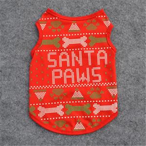 الحيوانات الأليفة والملابس عيد الميلاد ملابس زي الكلب الصغيرة بكسل طباعة العظام الكرتون الكلاب لطيف المرح الأحمر رسالة سانتا الكفوف الياقة Perro