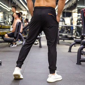 New Summer Black Running Pants Men Fitness Sports Gym Elastic Quick dry Sweatpants Training Jogging Exercise Trousers Zip pocket