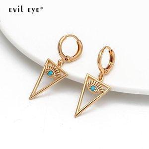 EVIL EYE مثلث إسقاط أقراط الذهب اللون الأذن حلقة مايكرو تمهيد التركية العين تعلق أقراط الأزياء والمجوهرات هدايا للمرأة بنات