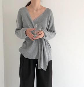Pull Automne Mode Femmes d'hiver dames solides manches longues col en V Bandage Tie Pull Automne Femmes surdimensionnée Pull
