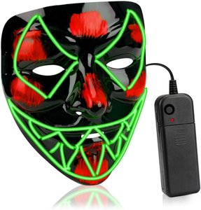 Without Battery Scary Halloween Mask Mask Led Light Up Mask Eco-Friendly Material Cosplay for Halloween Festival Party