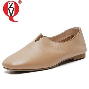 chaussures ZVQ femmes 2020 printemps nouvelles femmes en cuir véritable de haute qualité casual concise appartements à l'extérieur des chaussures à bout carré confortable