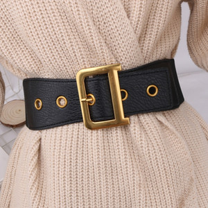 Letter negro correas de cintura del corsé de la mujer de la correa de las mujeres de oro hebilla cinturon D MUJER cinturón elástico ancho cummerbunds