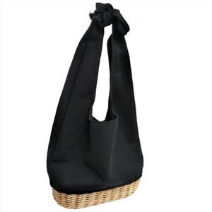 new oval portable cotton linen straw stitching handbags shoulder bag large canvas hand bag womens bags handbags