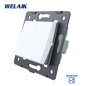 WELAIK UE Escadas-Wall Parts-de botão interruptor-DIY 2Gang2Way-Switch Parts-Wall-Light-Switch Crystal-Glass-Panel AC250V A722W / B