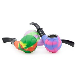 New arrival silicone pipes 5.3 inch colorful hand pipe with gift box packing glass pipes