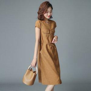 7927 Baumwolle und Leinen-Kleid kurzer Rock Frauen 2020 neues mittleres Alter Sommerkleid für Mutter Bauch deck kurzärmeligen Rock für den Sommer 28YPm