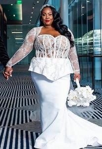 2020 Plus Size Arabic Aso Ebi Lace Beaded Sexy Wedding Dresses Mermaid Long Sleeves Bridal Dresses Cheap Wedding Gowns ZJ933