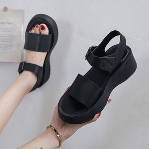 Dropshipping Summer Women Platform Sandals Wedge Ankle Strap Casual Shoes Woman Wild Outdoor Beach Sandalias Mujer Black White