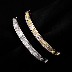 Luxury Bling Zircon Designer Bangles Hip Hop Men Women Bangles 7mm Width 18K Gold Rhodium Plated Bangles