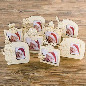 1PC Новой деревянной Рождества Фоторамка украшение Фото Украшение Таблица декор Аксессуары положить на стол Cute Xmas Theme Pattern