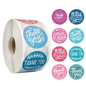 500pcs / roll 8 estilos flores agradecem-lhe adesivo Etiqueta Scrapbooking Handmade negócio de embalagens Decoração Seal Stickers