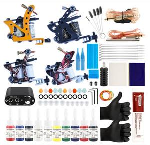 Professional Complete Tattoo Kit Tattoo Machine 4pcs Liner Shader Tattoo Gun 10 Color Immortal Ink Set Power Box Grip Tip