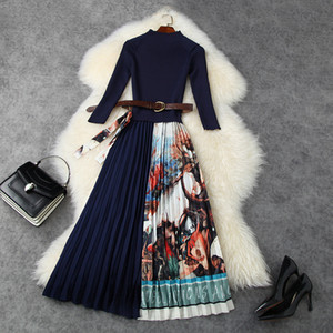 European and American women's wear 2020 winter new style Seven-point sleeve collar Fashion knit patchwork printed pleated dress