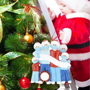 2020 DIY Name Blessings Snowman Christmas Tree Hanging Pendant PVC Spot Mask New Christmas Decorations Santa Claus Ornament family use