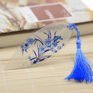 Multi colors porcelain Antique Leaf Veins Bookmarks Classical Chinese Stationery Exquisite Gift