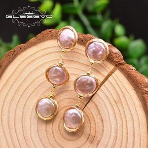 eKnR7 GLSEEVO barocche naturale orecchini viola handmade avvolgimento regalo GLSEEVO gioielli tasto della perla naturale barocca pulsante viola orecchino di perla