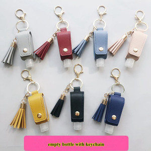 30ML Hand Sanitizer Bottle Capa T-forma de armazenamento Sacos PU Tassel Titular Keychain Protable Chaveiro Tampa GWF1868