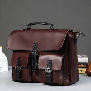 Scione Men Leather Bag Mens Laptop Briefcase Bag Vintage Male Office Messenger bag Business Leather Briefcase Bags For Man
