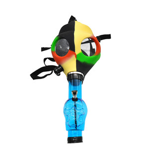 Silicone Mask Acrylic Water Bong Mask Creative Water Pipe Face Masks Tabacco Smoking Pipe Sillicone Mask Free Shipping OWD2140