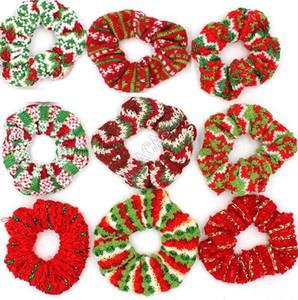 Woolen Knitting Scrunchies Mujeres Christmas Banda de pelo Navidad fiesta rojo verde rayas Scrunchy Elástico Peinado Cuerda Ponillo de caballo Pelo Titular D91707