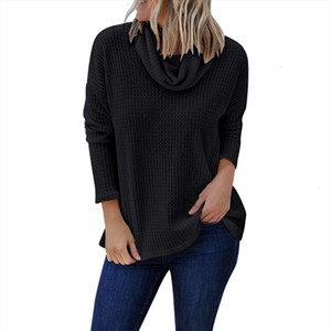 Women Winter Pullovers Solid Women Casual Long Sleeve Solid Shirt Turtleneck Blouse Top Pullover Plus Size Girl Clothing