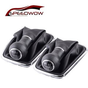 SPEEDWOW 5 6 Speed Gear Shift Knob Lever Shifter Gaitor Boot PU Leather For Volkswagen VW 2003-2008 Golf 4 IV MK4 GTI R32 Jetta