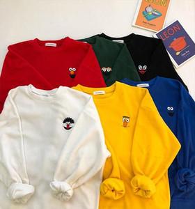 2020 New Fashion womens Hoodies Cute cartoon embroidery o neck long sleeve t shirt Drop Shipping Good Quality