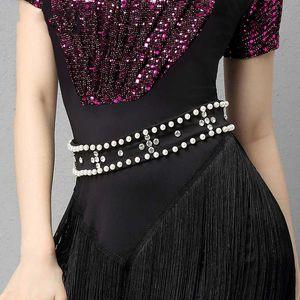 Adult Women Latin Dance Performance Accessories Jewelry Pearl Rhinestone Belt For Ballroom Cha Cha Samba Tango Waltz DL6537