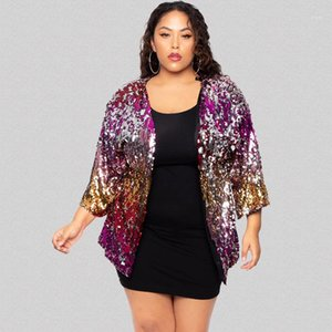 New Arrivals Shinny Sequins Womens Designer Jackets Long Sleeve Collarless Womens Gradient Outerwear Plus Size Ladies Jackets