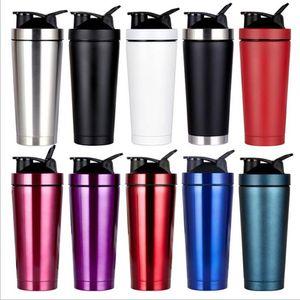 750мл с вакуумной изоляцией Кружки 304 из нержавеющей стали Спорт Термос Protein Milkshaker чашка кофе Shaker бутылки с крышкой Металлическая пружина Shaker