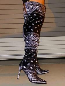 Durante rodilla de las mujeres estiramiento de gamuza grueso tacón botas de cuero de alta del muslo nuevo de las mujeres de alta arranque ata para arriba el alto talón largo del muslo botas de los zapatos