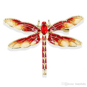 Fashion Jewelry Colorful Rhinestone Dragonfly Brooches Alloy Enameled Animal Brooch Pin Apparel Accessories 2020 Designer Brooches