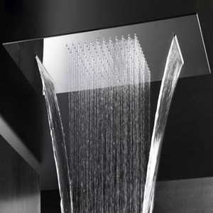 듀얼 비와 폭포 샤워 헤드 2 기능 물 흐름 천장 샤워 304 스테인레스 스틸 큰 샤워기 목욕