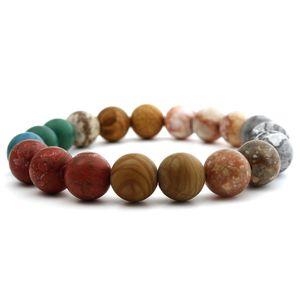 Eight Planets Bead Bracelet Men Natural Stone Universe Yoga Solar Chakra Bracelet for Women Men Jewelry Gifts